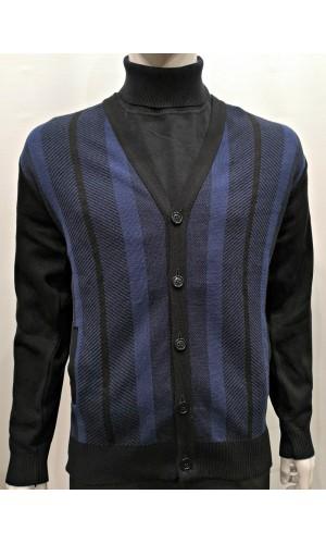 17761-Cardigan noir et bleu