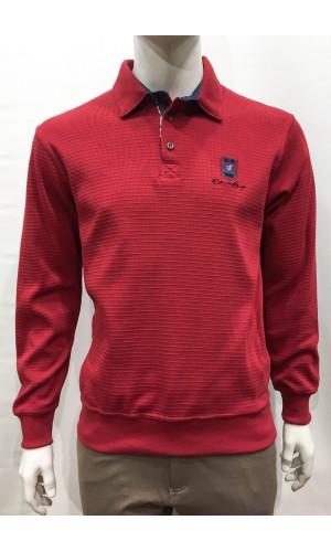18833-Polo M/L ETHNIC BLUE rouge