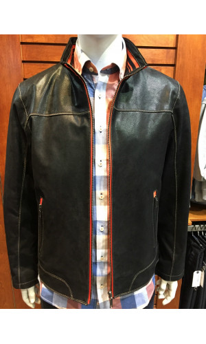 Manteau de cuir CRUZE couleur noir