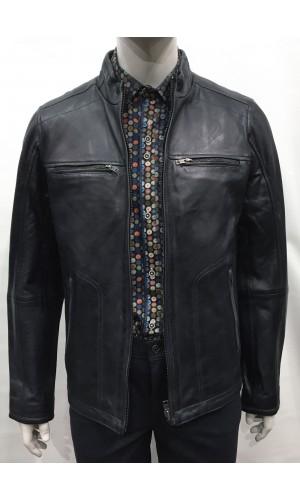 18740-Manteau en cuir LUCKY navy/grey
