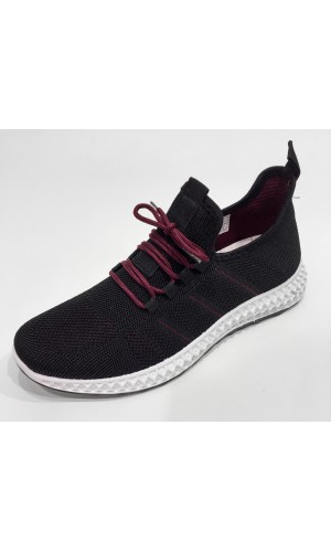 18666-Souliers sneakers OZZAZ noir/bourgogne